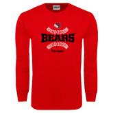 Red Long Sleeve T Shirt-Softball Seams Design
