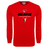Red Long Sleeve T Shirt-Geometric Lacrosse Design