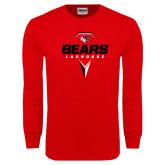 Red Long Sleeve T Shirt-Geometric Lacrosse Design