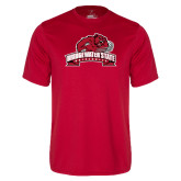 Syntrel Performance Red Tee-Bridgewater State University w/ Bear