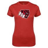Ladies Syntrel Performance Red Tee-BSU w/ Bear Head