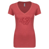 Next Level Ladies Vintage Red Tri Blend V-Neck Tee-BSU w/ Bear Head Glitter