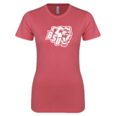 Next Level Ladies SoftStyle Junior Fitted Pink Tee-BSU w/ Bear Head