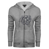 ENZA Ladies Grey Fleece Full Zip Hoodie-BSU w/ Bear Head Glitter
