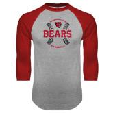 Grey/Red Raglan Baseball T Shirt-Baseball Seams Design