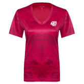 Ladies Pink Raspberry Camohex Performance Tee-BSU w/ Bear Head