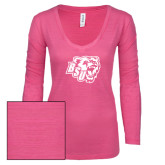 ENZA Ladies Hot Pink Long Sleeve V Neck Tee-BSU w/ Bear Head