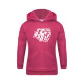 Youth Raspberry Fleece Hoodie-BSU w/ Bear Head