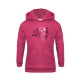 Youth Raspberry Fleece Hoodie-BSU w/ Bear Head Foil