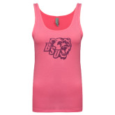 Next Level Ladies Junior Fit Fuchsia Jersey Tank-BSU w/ Bear Head Glitter