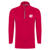 Ladies Pink Raspberry Sport Wick Textured 1/4 Zip Pullover-BSU w/ Bear Head