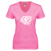 Next Level Ladies Junior Fit Ideal V Pink Tee-BSU w/ Bear Head