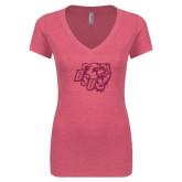 Next Level Ladies Vintage Pink Tri Blend V-Neck Tee-BSU w/ Bear Head Glitter