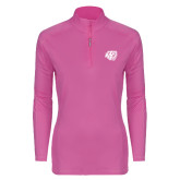 Ladies Syntrel Interlock Raspberry 1/4 Zip-BSU w/ Bear Head