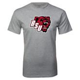 Grey T Shirt-BSU w/ Bear Head