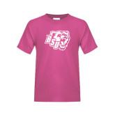 Youth Cyber Pink T Shirt-BSU w/ Bear Head