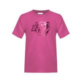 Youth Cyber Pink T Shirt-BSU w/ Bear Head Foil