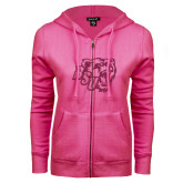 ENZA Ladies Fuchsia Fleece Full Zip Hoodie-BSU w/ Bear Head Glitter