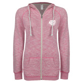 ENZA Ladies Hot Pink Marled Full Zip Hoodie-BSU w/ Bear Head