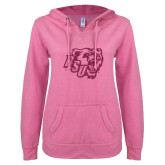 ENZA Ladies Hot Pink V Notch Raw Edge Fleece Hoodie-BSU w/ Bear Head Glitter