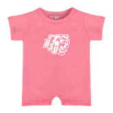 Bubble Gum Pink Infant Romper-BSU w/ Bear Head