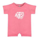 Bubble Gum Pink Infant Romper-BSU w/ Bear Head