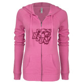 ENZA Ladies Hot Pink Light Weight Fleece Full Zip Hoodie-BSU w/ Bear Head Glitter
