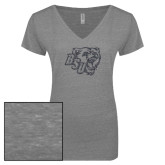 ENZA Ladies Graphite Melange V Neck Tee-BSU w/ Bear Head Glitter