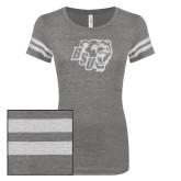 ENZA Ladies Dark Heather/White Vintage Triblend Football Tee-BSU w/ Bear Head Glitter