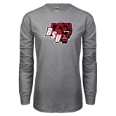 Grey Long Sleeve T Shirt-BSU w/ Bear Head