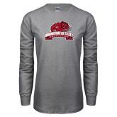 Grey Long Sleeve T Shirt-Bridgewater State University w/ Bear