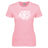 Ladies Pink T-Shirt-BSU w/ Bear Head