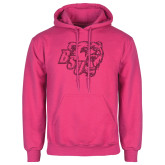 Fuchsia Fleece Hoodie-BSU w/ Bear Head Glitter
