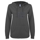ENZA Ladies Dark Heather V-Notch Raw Edge Fleece Hoodie-BSU w/ Bear Head Glitter