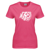 Ladies Fuchsia T Shirt-BSU w/ Bear Head