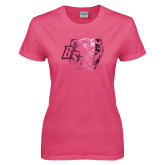 Ladies Fuchsia T Shirt-BSU w/ Bear Head Foil
