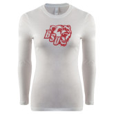 Ladies White Long Sleeve V Neck T Shirt-BSU w/ Bear Head Glitter