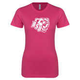 Ladies SoftStyle Junior Fitted Fuchsia Tee-BSU w/ Bear Head