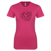 Ladies SoftStyle Junior Fitted Fuchsia Tee-BSU w/ Bear Head Glitter