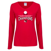 Ladies Red Long Sleeve V Neck T Shirt-2018 Mens Basketball Champions