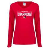 Ladies Red Long Sleeve V Neck T Shirt-2018 Mens Basketball Champions - Box