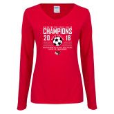 Ladies Red Long Sleeve V Neck Tee-2018 MSCAC Mens Soccer Champions