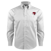 Red House White Long Sleeve Shirt-BSU w/ Bear Head