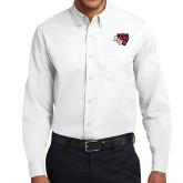 White Twill Button Down Long Sleeve-BSU w/ Bear Head