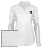 Ladies Red House Diamond Dobby White Long Sleeve Shirt-BSU w/ Bear Head