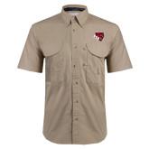 Khaki Short Sleeve Performance Fishing Shirt-BSU w/ Bear Head