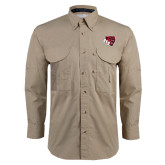 Khaki Long Sleeve Performance Fishing Shirt-BSU w/ Bear Head