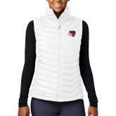 Columbia Mighty LITE Ladies White Vest-BSU w/ Bear Head