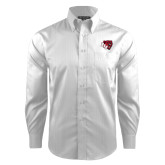 Red House White Dobby Long Sleeve Shirt-BSU w/ Bear Head