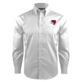 Red House White Dobby Long Sleeve Shirt-BSU w/ Bear Head